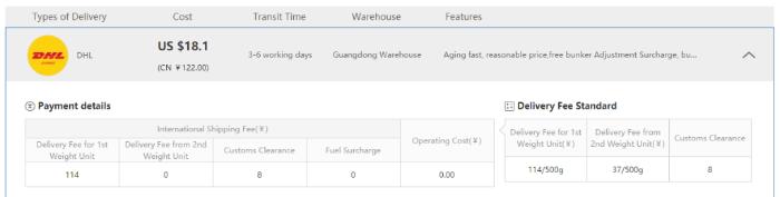 international shipping price